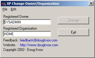 Изменяем владельца компьютера и организацию