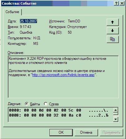 Ошибка подключения к терминальному серверу   TermDD Event ID 50