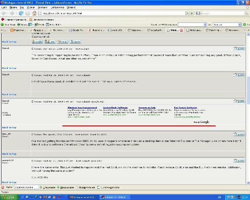 Google AdSense в постах на форумах.