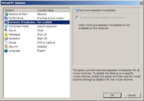Аппаратная виртуализация в ноутбуке HP 530 и Virtual PC